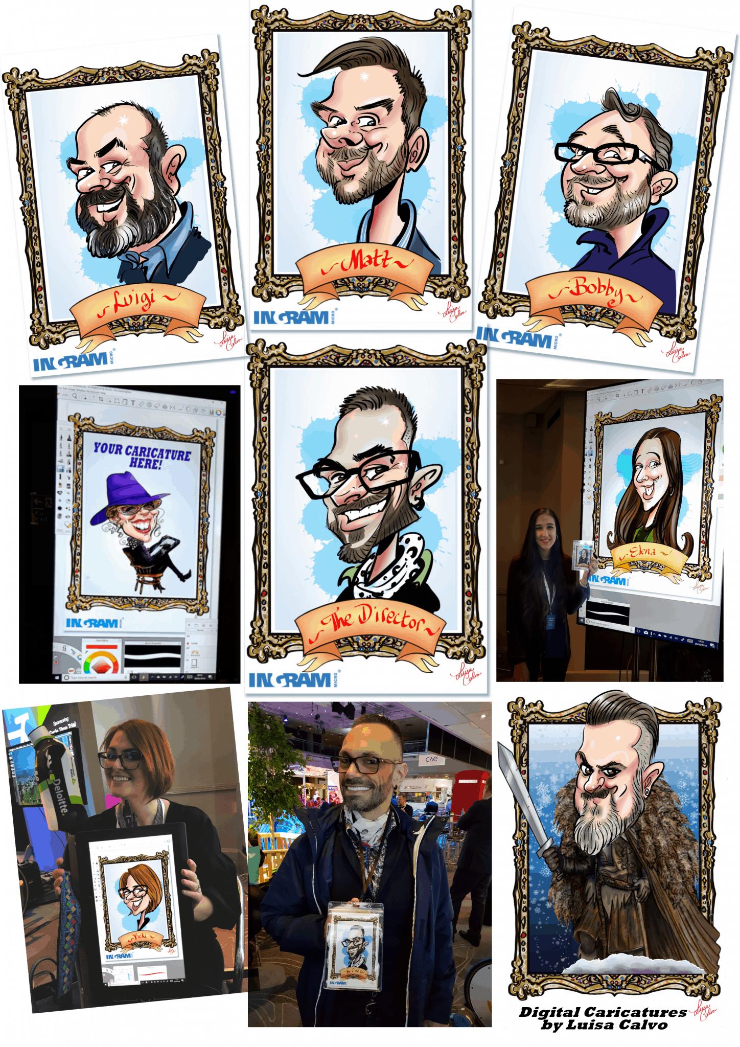 Digital caricatures by Luisa Calvo for Cisco in Brighton