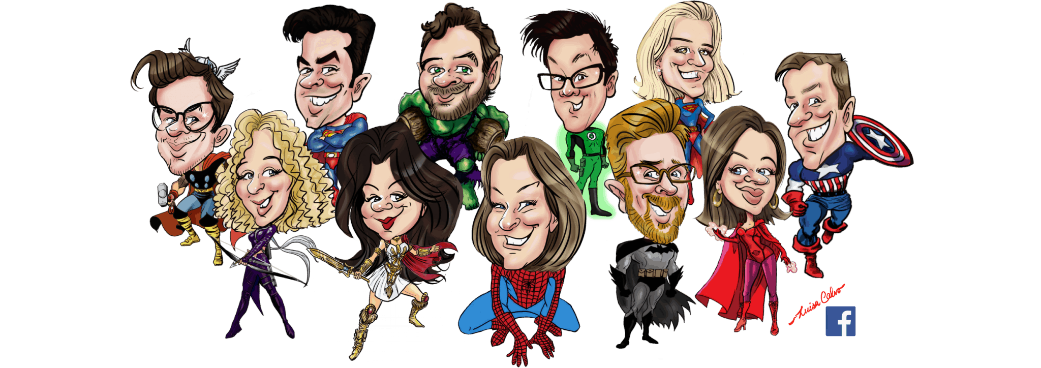 Group caricature by Luisa Calvo for facebook