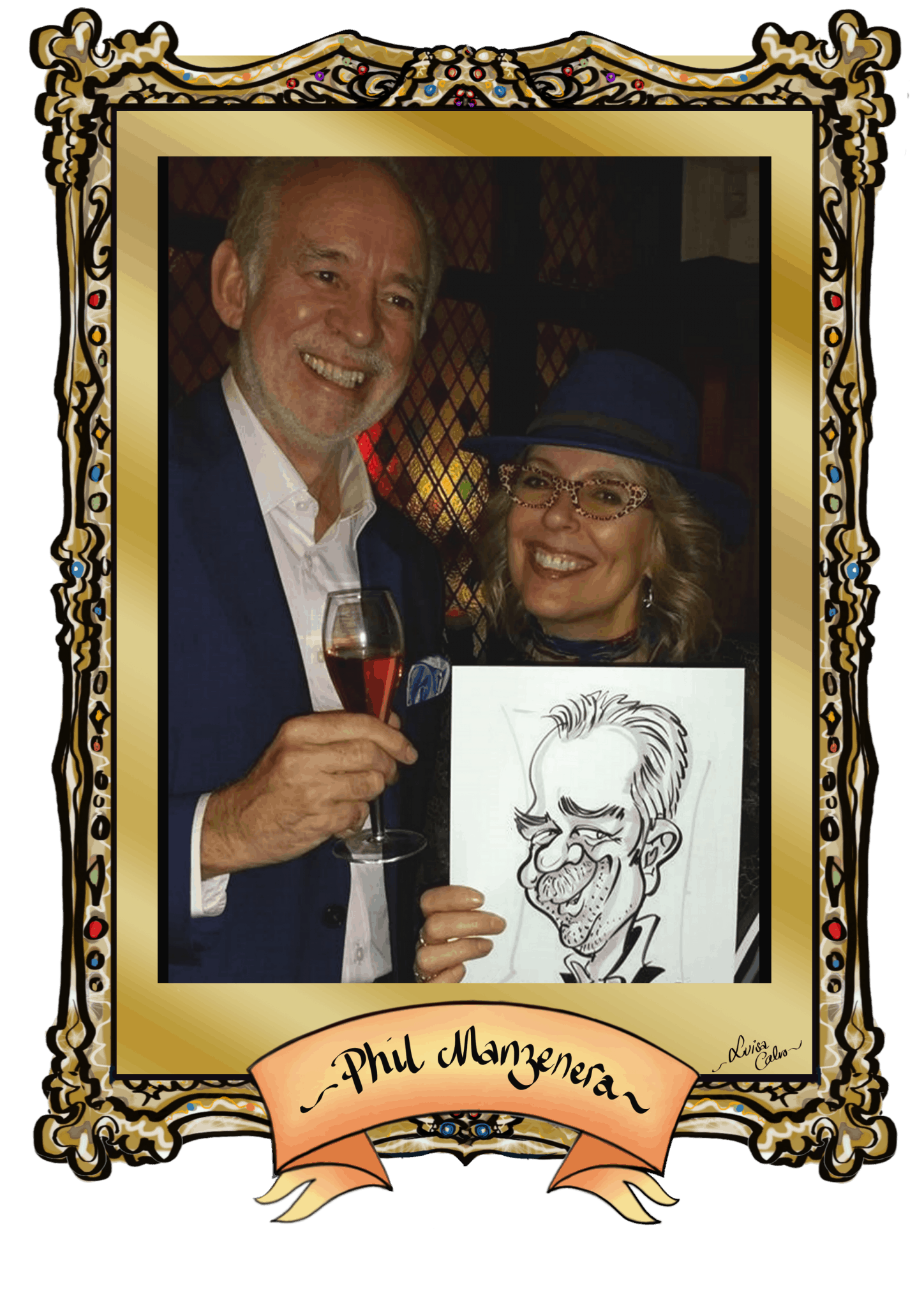 PHIL MANZENERA &CARICATURE BY LUISA CALVO