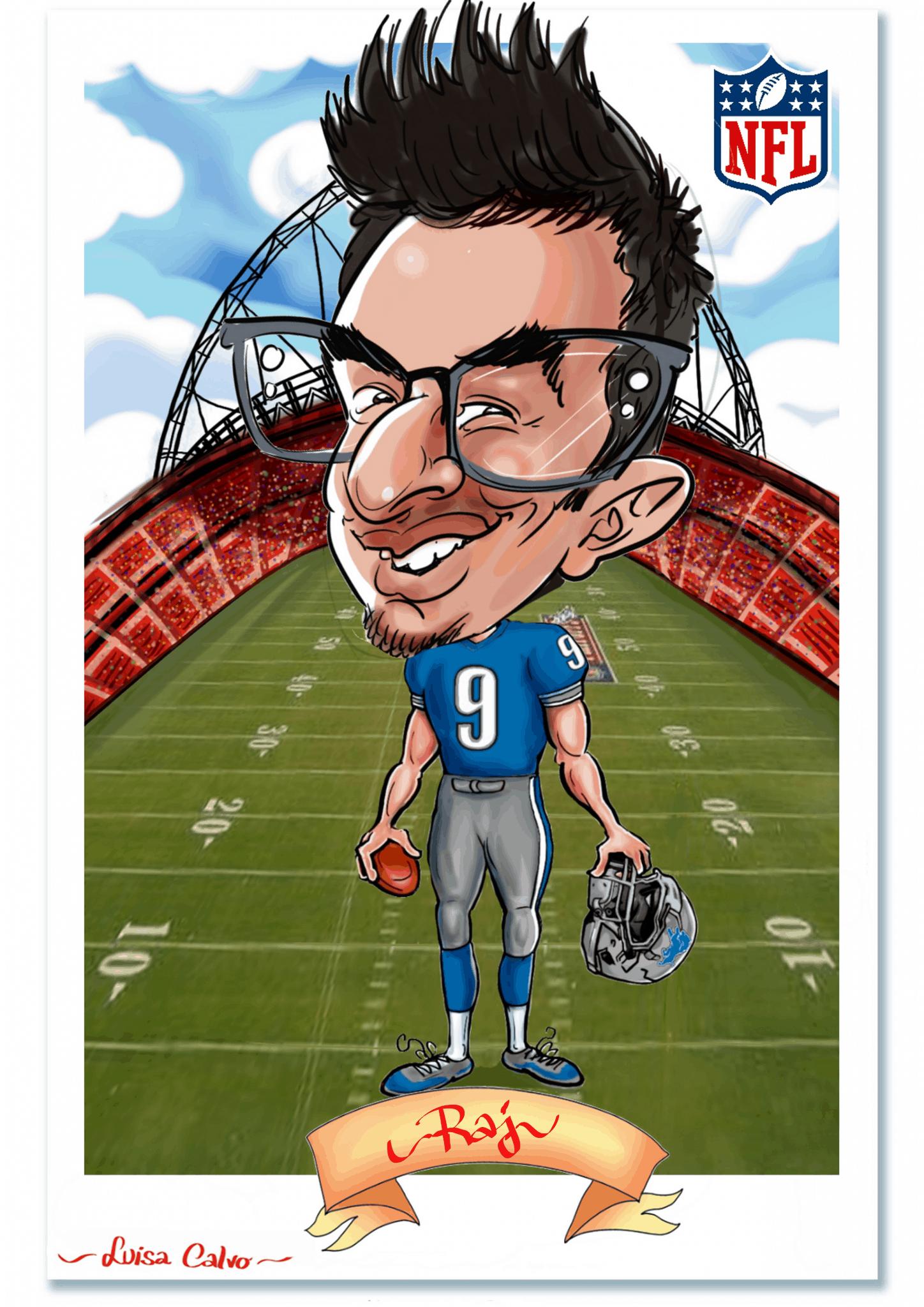 American football NFL caricature BY LUISA CALVO