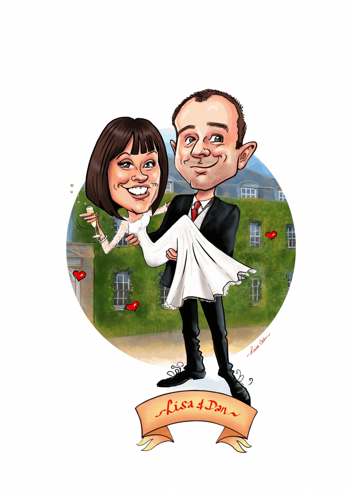 BRIDE AND GROOM CARICATURE BY WEDDING CARICATURIST LUISA CALVO