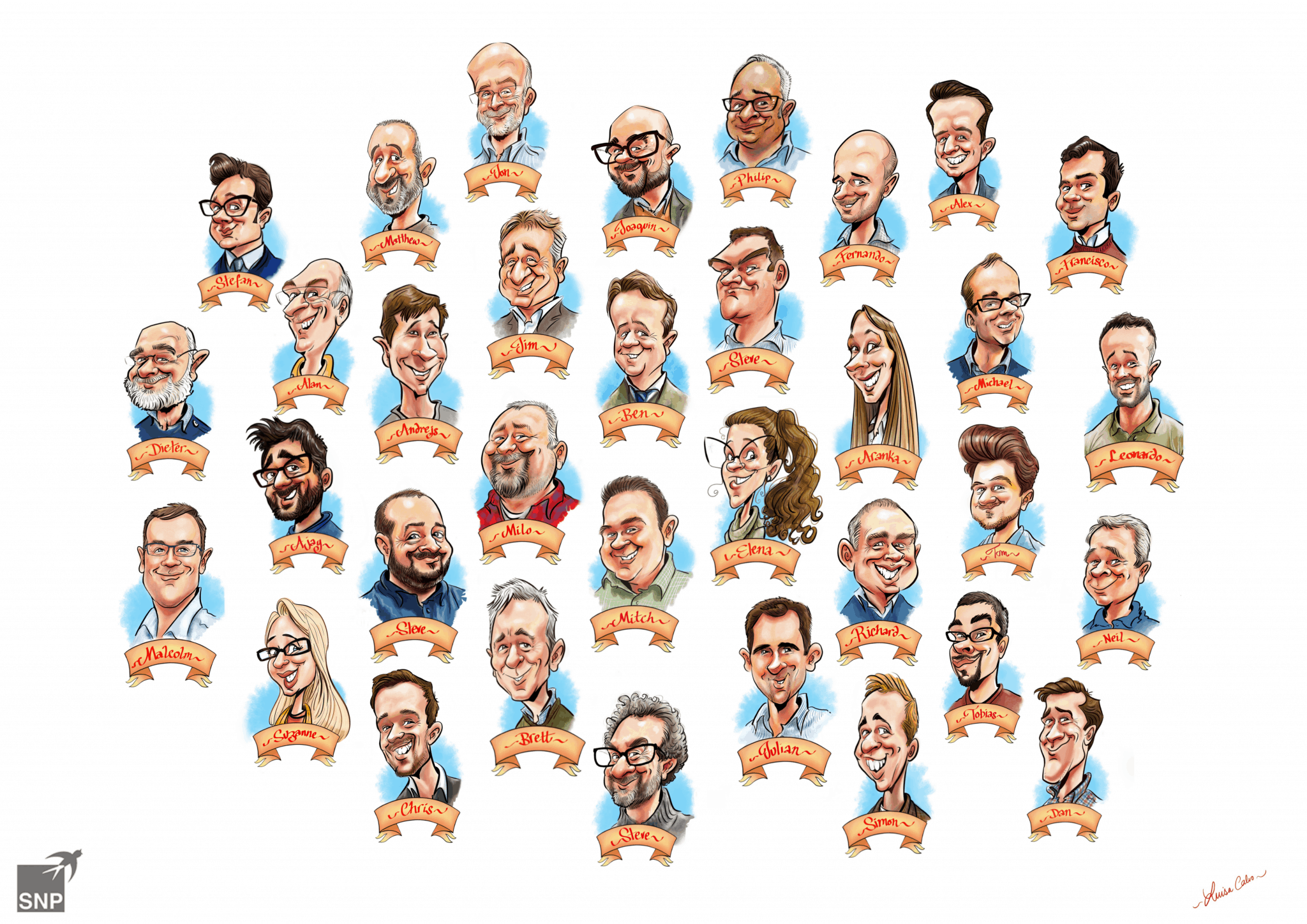 GROUP CARICATURE FROM PHOTOS BY LUISA CALVO
