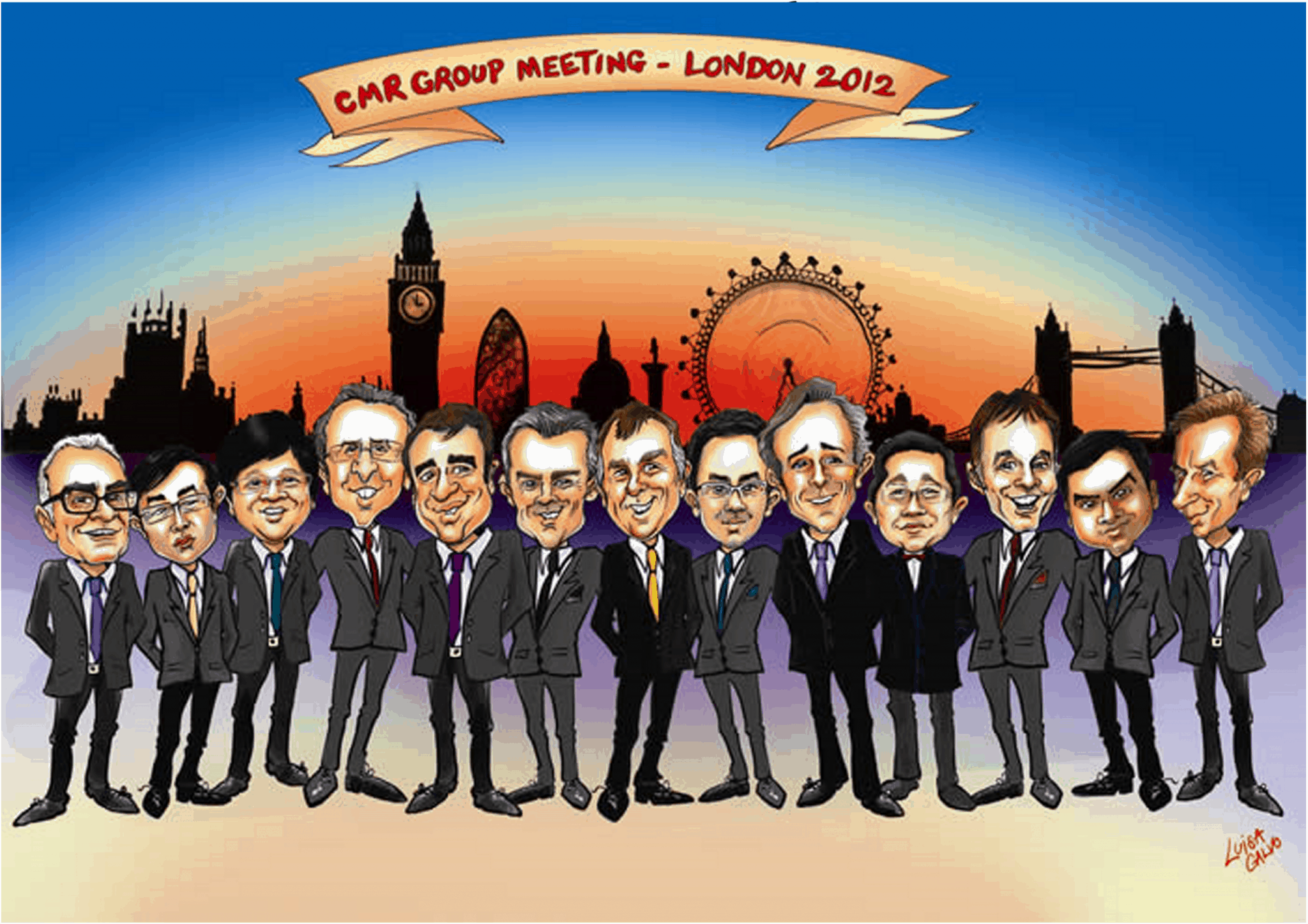 Group caricature for CMR Group by Luisa Calvo
