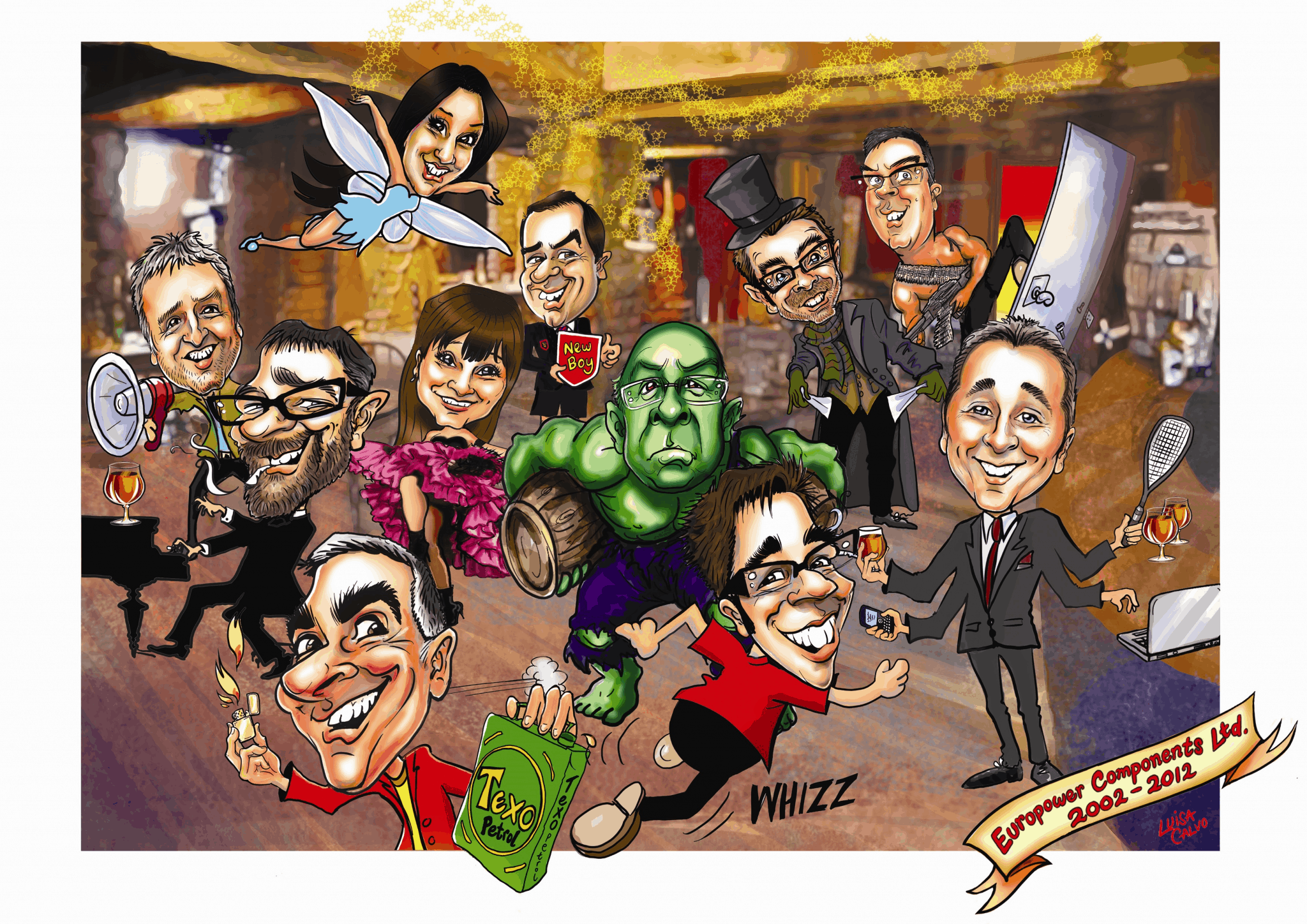 Group caricature for Europower Components by Luisa Calvo