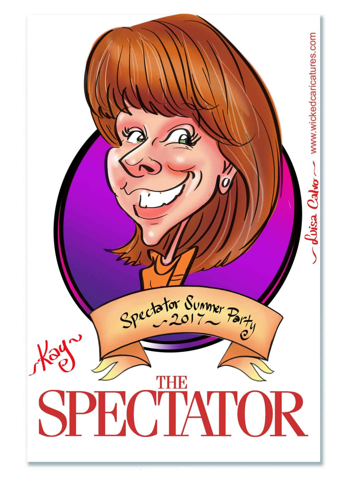 Kay Burley live digital caricature at Spectator Summer Party 2017 by Luisa Calvo