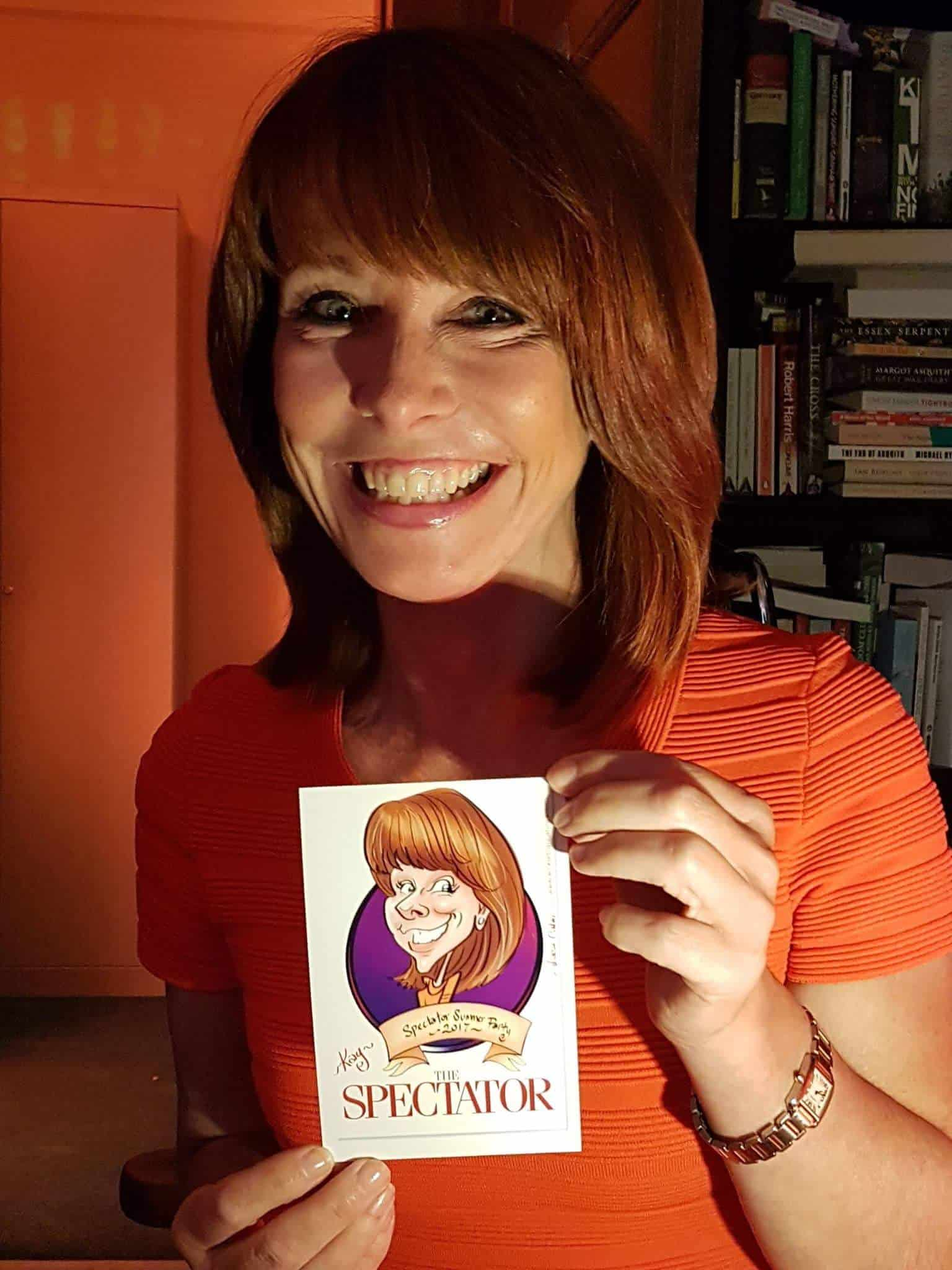 Kay Burley live digital caricature at Spectator Summer Party 2017 by Luisa Calvo Wicked Caricatures