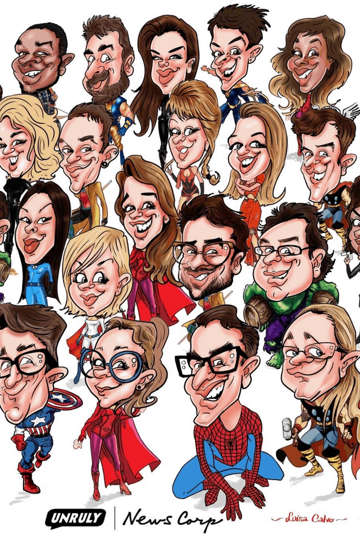 LIVE digital superhero caricatures__BY LUISA CALVO