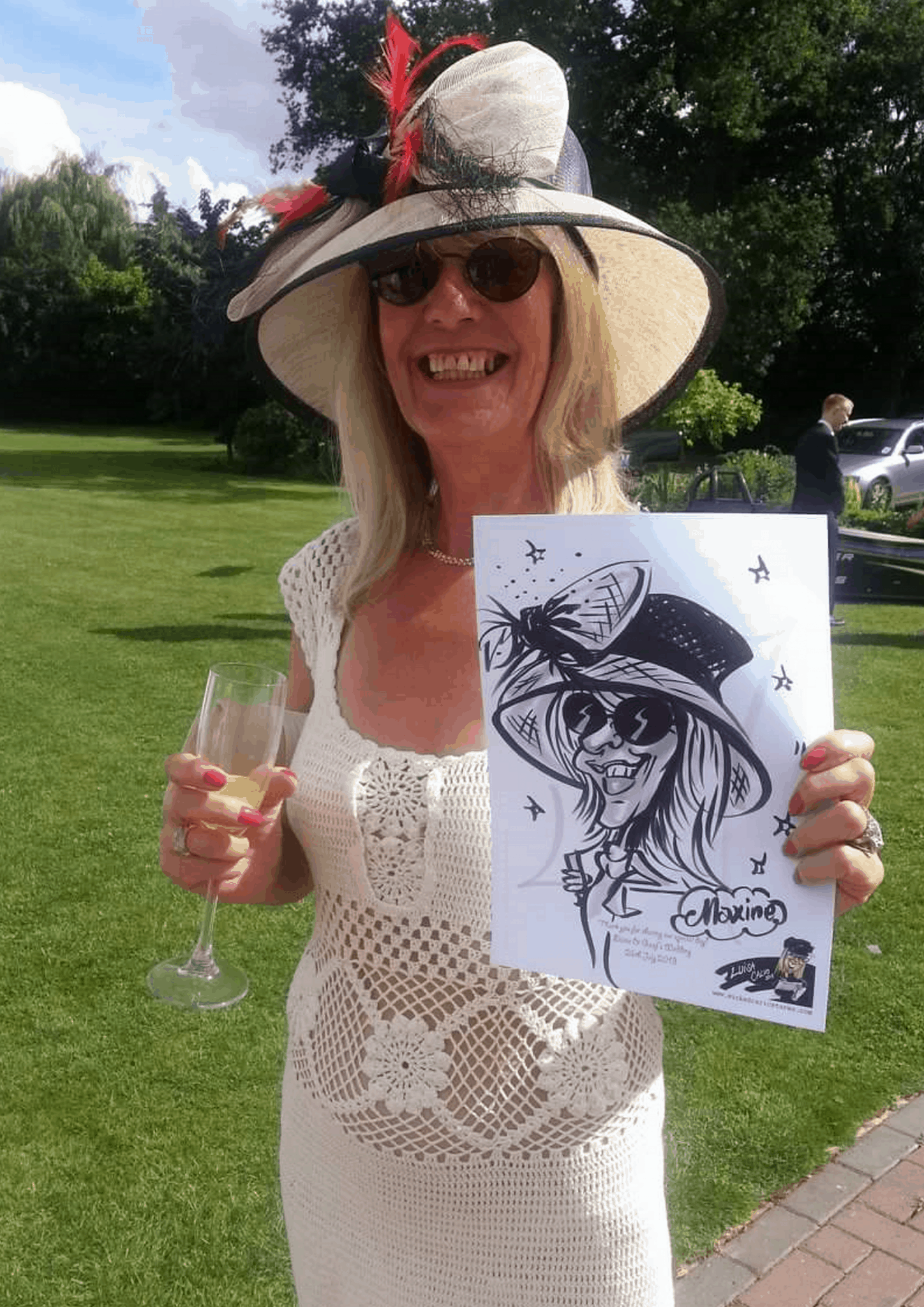 Live traditional black and white pen and ink caricatures for weddings by Luisa Calvo – Wicked Caricatures..