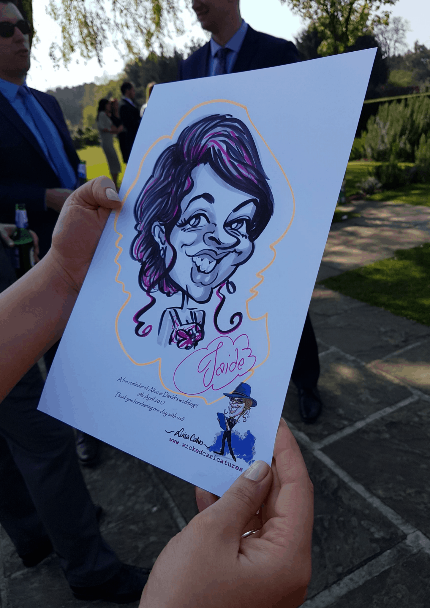 Live traditional black and white pen and ink caricatures for weddings by Luisa Calvo – Wicked Caricatures