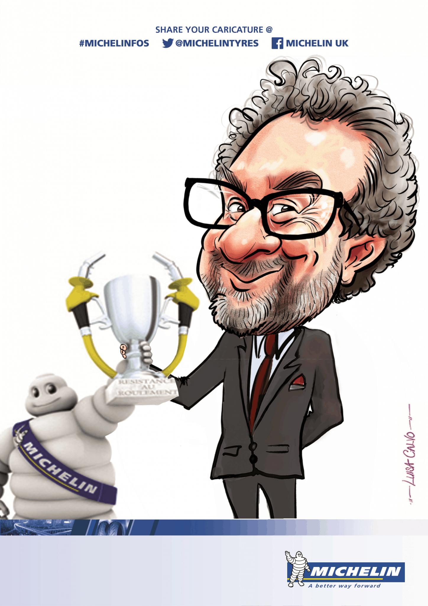Michelin man themed caricature – by Luisa Calvo