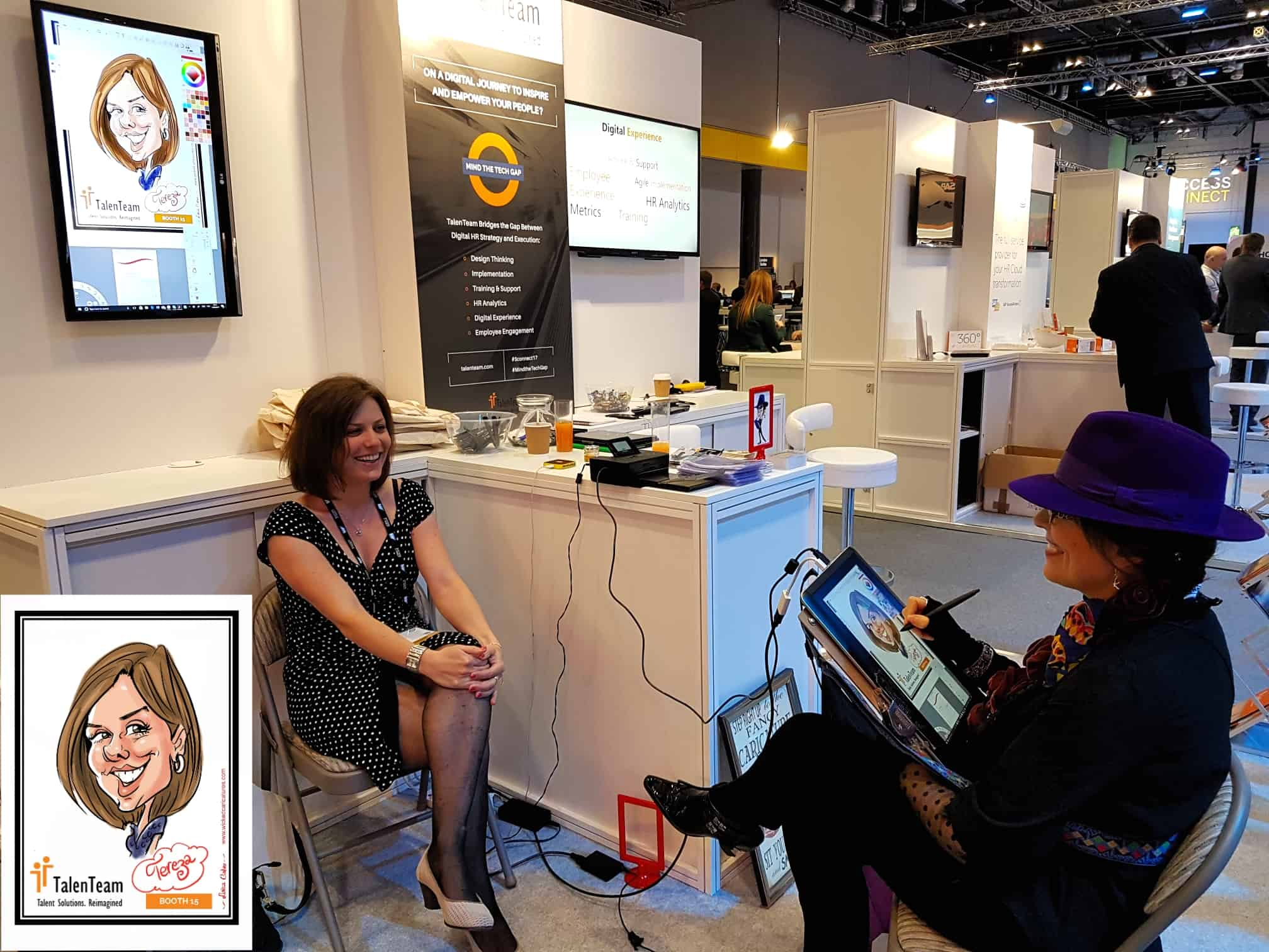 live digital caricatures on Talenteam booth by Luisa Calvo Wicked Caricatures.