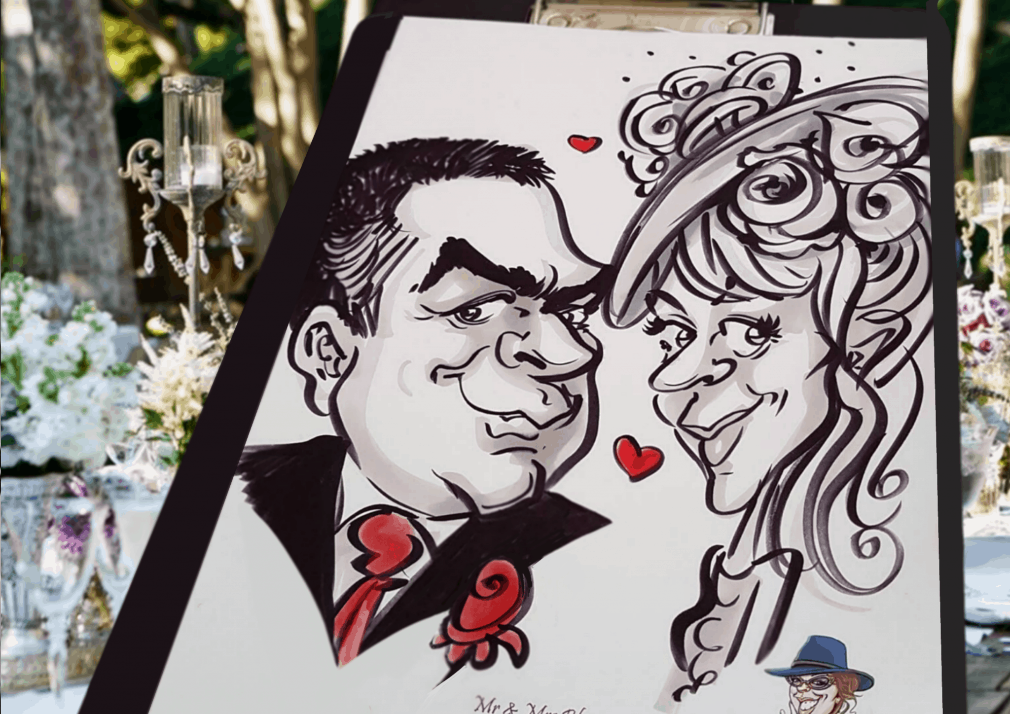 peterborough weddings bride and groom caricature traditional pen and ink – Wicked Caricatures Ltd – by caricaturist Luisa Calvo
