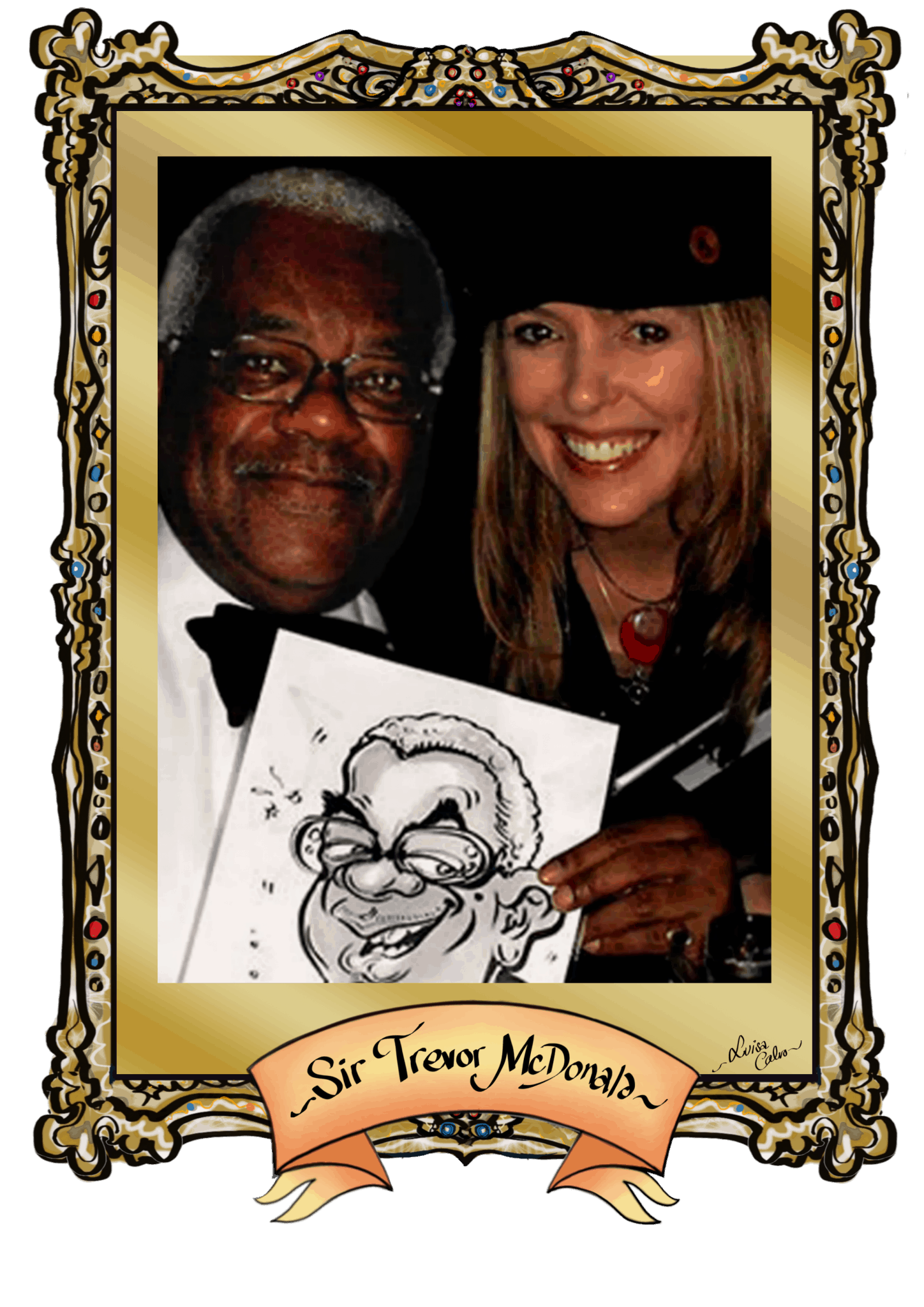 SIR TREVOR MCDONALD CARICATURE -BY LUISA CALVO at the Grosvenor